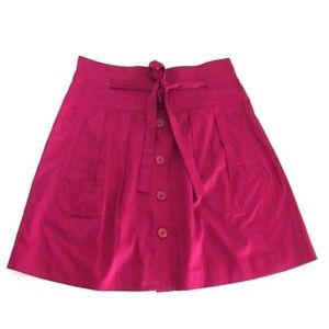 Theory Prisia Skirt Button High Waist Pleated Pink